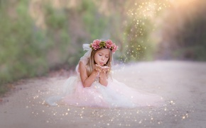 Picture road, magic, child, dress, girl