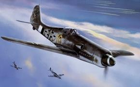 Picture war, art, painting, aviation, tank, ww2, focke wulf fw 190