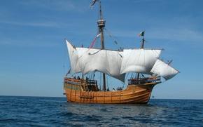 Picture the way, ship, sailboat, sails, replica Santa Maria