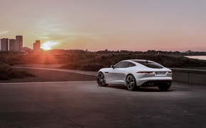 Picture Jaguar, Car, Coupe, Sunset, White, Sport, Rear, F-Type R