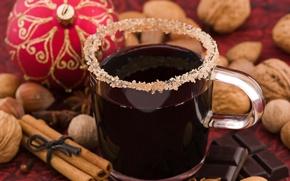 Wallpaper holiday, new year, chocolate, mug, sugar, drink, the scenery, nuts, cinnamon, happy new year, christmas ...