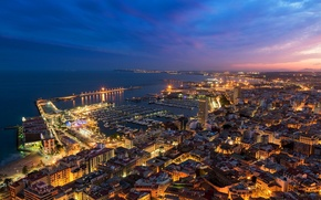 Picture sunset, the city, lights, building, home, the evening, panorama, twilight, Spain, Spain, Valencia, Valencia, Alicante, …