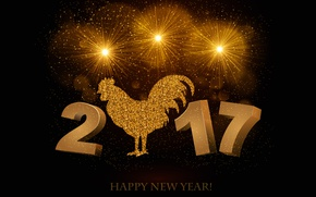 Picture lights, letters, background, gold, holiday, the inscription, bird, black, graphics, Shine, new year, salute, figures, …