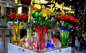 Picture glass, flower, italy, venice, murano glass, murano