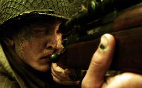 Wallpaper weapons, soldiers, sniper, rifle, aiming, saving private Ryan