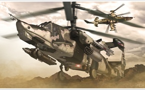 Picture aviation, helicopter, RUSSIAN AIR FORCE, black shark, KA-50