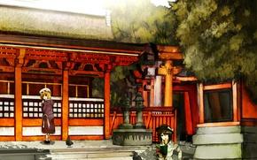 Picture gate, pigeons, temple, book, touhou, usami renko, maribel han
