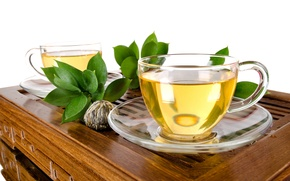 Picture leaves, green, tea, Cup, white background, drink, table