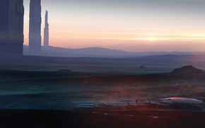 Picture spaceship, man, planet, towers, highways