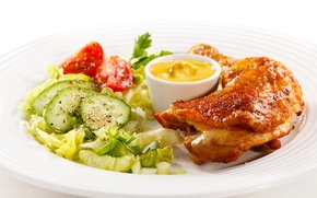 Picture products, chicken, salad, plate, cucumbers, baked, meat, food