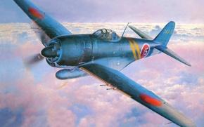 "Picture the sky, war, Art, sea, Japanese, fighter-interceptor, George, Kawanishi, Siden-Kai, Shiden-KAI, N1K2-J, ""Purple lightning improved"", …"