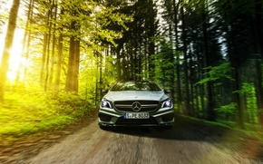 Picture Mercedes-Benz, AMG, Sun, Summer, Road, Forest, Drive, CLA45
