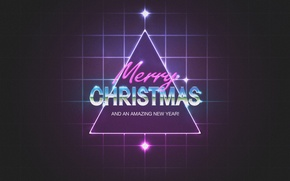 Picture neon, squares, New Year, Christmas, triangle, New Year, Merry Chrismas