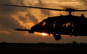 Picture the evening, helicopter, soldiers