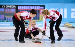 Picture look, girls, stone, the game, ice, Russia, slide, RUSSIA, Sochi 2014, The XXII Winter Olympic …