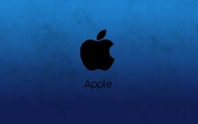 Picture blue, apple, minimalism, Apple