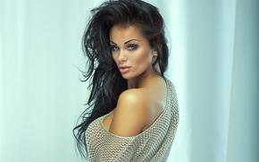 Picture model, brunette, look, makeup