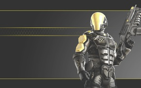 Picture gun, game, armor, rifle, suit, Weapon, pearls, Soldier, Mantel, armour plating, Haze, kabuto, nonotecnology