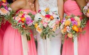 Picture flowers, dress, the bride, wedding, bouquets, girlfriend