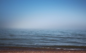 Picture sand, sea, the sky, water, fog, stones, wave, horizon