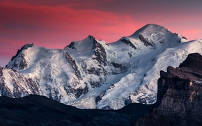 Picture Pink, Clouds, Sky, Landscape, Mountain, Snow, Beauty, View, Mont Blanc, Samöens
