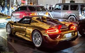 Picture auto, Porsche, Spyder, 918, Golden