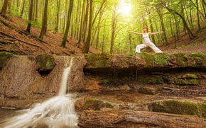 Picture forest, girl, the sun, trees, nature, pose, gymnastics, waterfall, morning, Mike, brown hair, in white, …