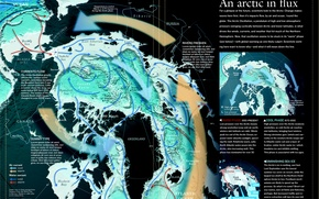Picture map, North pole, Canada, of course, winds, the picture from space, Greenland