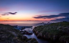 Picture sea, sunset, coast, Norway, Norway, Lofoten