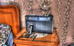 Picture background, cassette, radio