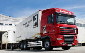 Picture Truck, Wallpaper, Red, Wallpapers, Truck, DAF, XF105, A container ship, DAF, ИксЭф105.460, Space Cab