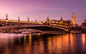 Wallpaper bridge, piers, France, Paris, lights, boats, lights, promenade, river