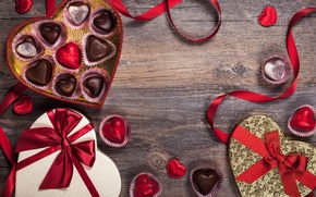 Picture romance, chocolate, candy, tape, hearts, love, rose, heart, romantic, Valentine's Day