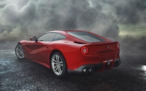 Picture The sky, Red, Wheel, Ferrari, Ass, Clouds, Ferrari, Red, Lights, Clouds, Sky, Mirror, Supercar, Lights, ...