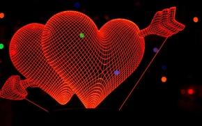 Picture background, heart, line, arrow, Valentine