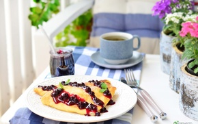 Wallpaper tea, Breakfast, currants, jam, pancakes