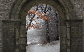 Picture winter, snow, nature, wall, arch, wall, Nature, winter, snow