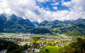 Picture mountains, home, Austria, valley, panorama, town, the view from the top, Mother mountain