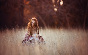Picture field, the wind, girl, redhead