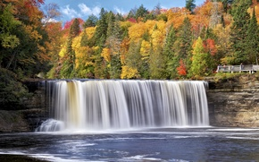 Wallpaper Michigan, autumn, Michigan, river, forest, trees, waterfall, river Taquamenon, waterfall Taquamenon, Tahquamenon River, Tahquamenon Falls, ...