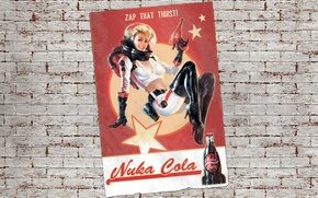 Picture girl, fiction, wall, figure, astronaut, the suit, poster, art, girl, wall, pin-up, Fallout, postapokalipsis, art, …