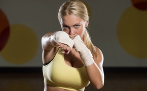 Picture punch, boxing, blonde, workout, training