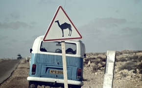 Picture road, the sky, clouds, sign, desert, Volkswagen, camel, back, Volkswagen Transporter