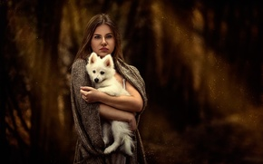 Picture white, girl, puppy, dog