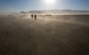 Wallpaper the sun, dust, mountains, movement