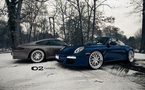 Picture winter, blue, beautiful, 2 porche