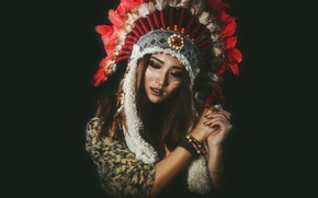 Picture style, feathers, girl, headdress, beauty, face, hair