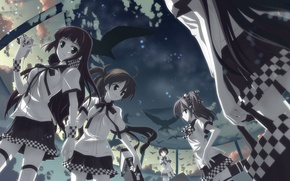 Picture the sky, cell, crows, form, chess, Schoolgirls
