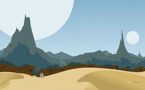 Picture mountains, desert, planet, robot, star wars, r2d2