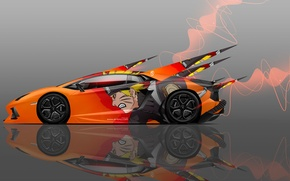 Picture Naruto, Naruto, Orange, Orange, Lamborghini, Art, Design, Car, Style, Lamborghini, 2014, Aventador, Art, Auto, Side, ...